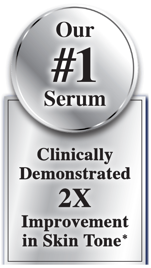 Our #1 Serum, Clinically Demonstrated 2X Improvement in Skin Tone*